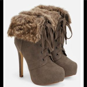 NIB Just Fab Faux Suede & Faux Fur Lace-up Booties